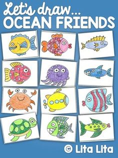 This is a simple guided drawing activity where your students will have different options to complete their Ocean Friends.  You can use the 6 pictures worksheets to draw them all or the big one to choose one of them.