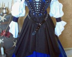 Gray Black Skulls Pirate Wedding Gown Dress Costume. Different by Scalarags | Etsy