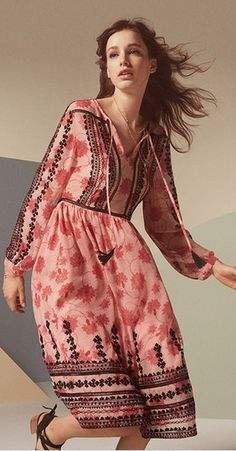 embroidered print midi dress