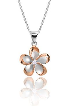 Sterling Silver with 14k Rose Gold Plated Trim CZ Plumeria Pendant Necklace with 18 Box Chain *** For more information, visit image link. (This is an affiliate link) #Necklaces