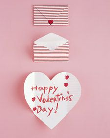 Folding Envelope Hearts - Friends will be aflutter over envelopes that turn into valentines - Valentine's Day card cards valentine idea ideas DIY cute hearts love kids kids at heart class classroom tutorial how to simple easy affordable cheap martha stewart living