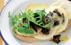Grilled pear and pickled walnuts with cheddar on toast - Nathan Outlaw