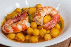 Cómo hacer garbanzos con langostinos Lunch Time, Fresco, Shrimp, Sausage, Good Food, Menu, Instagram, Recipes, Rica Rica