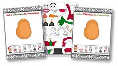 Here is a Christmas game for the whole family! This FREE Roll a Christmas Mr. Potato Head is perfect for family game night. Mr Potato Head, Potato Heads, Free Christmas Printables, Free Printables, Head Games, Spelling Words, Eye Roll, Kindergarten, Rolls