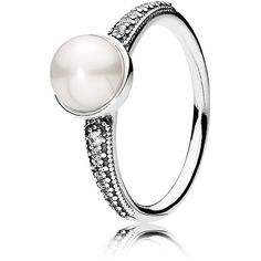 Pandora Ring - Sterling Silver, Cubic Zirconia & Cultured Freshwater... ($85) ❤ liked on Polyvore featuring jewelry, rings, freshwater pearl ring, pandora rings, sterling silver cubic zirconia jewelry, sterling silver cz jewelry and sterling silver rings