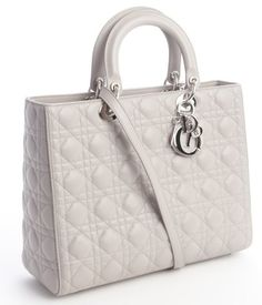 9ad16b9499 Christian Dior Grey Quilted Leather  Large Lady Dior  Convertible Tote Bag  Belt Purse
