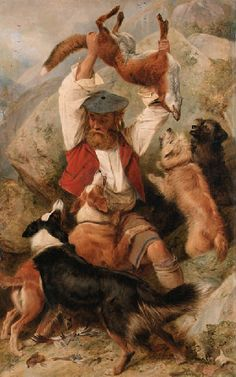 CLASSIC SCOTTISH SHEPHERD PAINTING | ... few paintings - usually it's mainly black and tans in old paintings. IN MY MIND THIS IS A VERY BEAUTIFUL PAINTING, BUT THE SUBJECT MATTER SADDENS ME.