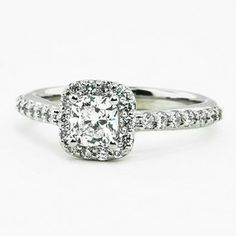 18K White Gold Fancy Diamond Halo Ring (1/3 ct.tw.) set with 0.53 Carat, Cushion, Very Good Cut, E Color, SI1 Clarity Diamond