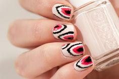 40 Great Nail Art Ideas - Pastel Ikat Nails