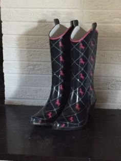 Women All Shapes And Sizes: Size 7 Womens Rain Boots Shaped Like Cowboy Boots Heel And All -> BUY IT NOW ONLY: $9.99 on eBay!