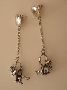 Giovanni Raspini Italy 925 Silver Earrings with Angel on Swing #GiovanniRaspini #DropDangle