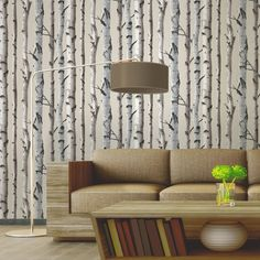 Tapete Natur Beige / Creme - FD31051 - Birke - Wald Holz - Fine Decor