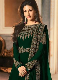 Deep Green Golden Embroidered Anarkali Suit