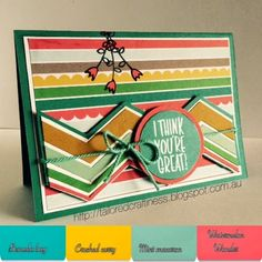 New Stampin up in colors Cherry on top DSP Friendly wishes stamp set I think youre great Stamp set Banner punch