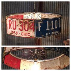 Industrial Pendant light.  Vintage plates and bike rim.