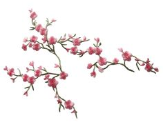 "4130 9""x7"" Pink Quince Sakura Flower Embroidery Iron on Applique Patch 