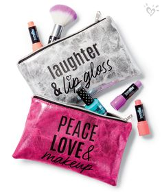 Tote your essentials beautifully in our Just Shine cosmetic bags! #girlsjustshine