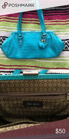 Turquoise blue purse Nine West turquoise blue purse. Purchased and used twice. Great condition! Nine West Bags