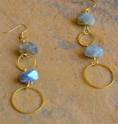"""Labradorite, gold chain. Earrings approximately 2"""" in length with gold earwires. Coordinating statement necklace and bracelet sold separately. Stones may vary slightly."""