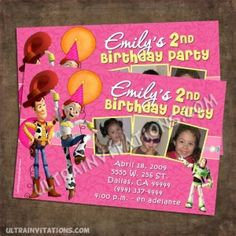 Toy Story 3 Invitations with your child photo with all the character gang. Toy Story Invitations, Pink Invitations, Birthday Invitations, Invites, Girl 2nd Birthday, Toy Story Birthday, 3rd Birthday Parties, Toy Story Party, Toys For Girls