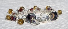 Boysenberry Bracelet, handmade artisan bracelet by Clover Blue featuring our Boysenberry Raku Lampies!