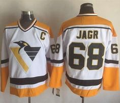Penguins #68 Jaromir Jagr White Yellow CCM Throwback Stitched NHL Jersey