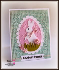 Sukie @ Twine It Up! with Trendy Twine made an adorable bunny card which she used the Posy Trendy Twine.