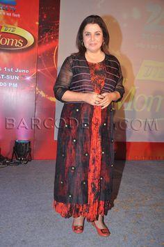 Farah Khan in black red suit