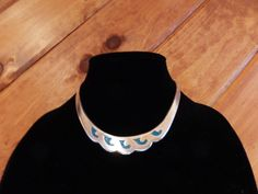 VINTAGE TAXCO TURQUOISE INLAID STERLING SILVER CHOKER CUFF NECKLACE LOVELY