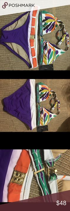 Halter Top With Gold Icons Bikini Swimsuit sz sX This item is Final Sale and may not be returned. We recommend taking a good look at all item details before ordering. ( perfect mixed ) BCBGMaxAzria Swim Bikinis