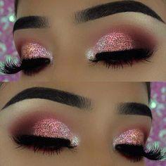 Pink Glitter Eye Makeup Look für Silvester - Makeup inspirations - Make Up New Year's Makeup, Pink Eye Makeup, Eye Makeup Tips, Cute Makeup, Smokey Eye Makeup, Glam Makeup, Gorgeous Makeup, Makeup Inspo, Eyeshadow Makeup
