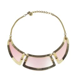 Pink Paneled Collar Necklace