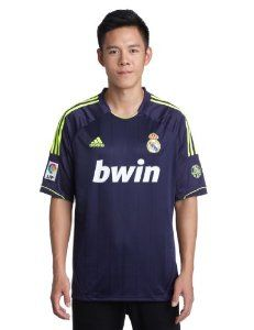 adidas Real Madrid Away 2012-13 Soccer Jersey by adidas. $69.11. ClimaCool. 100% Polyester.. Embroidered official logo and Real Madrid club badge.. Note:  Soccer jersey only.. Official licensed product of adidas.. Embroidered LFP badge and badge celebrating Real Madrid's 110 years of success on the sleeve.. Real Madrid fans: With Jose Mourinho managing one of the top elite club teams of the world, Real Madrid FC is definitely making a statement to the world as one of the most pow...