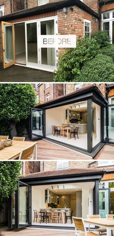 Before And After – A Victorian Townhouse Redesign In North London In this house renovation, folding sliding doors in dark grey aluminium replaced the original doors and opened up the interior to the garden, creating an indoor/outdoor living environment. Victorian Townhouse, Victorian Homes, Home Decor Kitchen, Interior Design Kitchen, Kitchen Chairs, Reforma Exterior, House Extension Design, Design Exterior, Exterior Paint