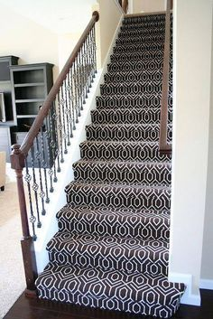 Patterned stair carpet   Home SWEET Home   Pinterest   Stair carpet     More modern style of runner  Geometric Stair Carpet  Chocolate Tessio Carpet
