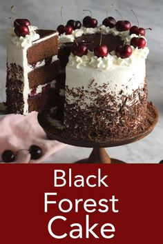 This delicious black forest cake features luscious chocolate cake layers soaked in a cherry brandy syrup all covered in whipped cream and shaved chocolate. It's a light and perfectly sweet German dessert that is easy to make and a chocolate-lover's dream! Easy Cake Recipes, Easy Desserts, Dessert Recipes, Cake Decorating Videos, Cake Decorating Techniques, Cake Decorating Frosting, Food Cakes, Cupcake Cakes, Gourmet Cakes