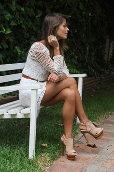 Wonderful white lace outfit, love the matching belt and heels. Totally my style!
