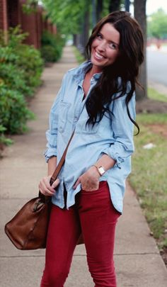 Chambray and dark red jeans