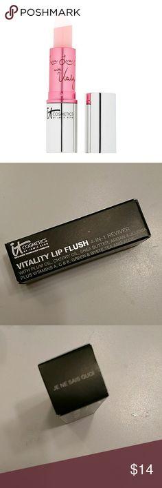 NIB It Cosmetics Vitality Lip Flush Brand new in box It Cosmetics Vitality Lip Flush 4-in1 lip reviver. It Cosmetics Makeup Lip Balm & Gloss