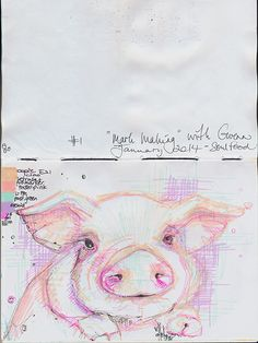 I did 2 exercises {so far} in the mark making class with Gwenn Seemel - little piglet by Joyce van der Lely -