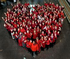 More than 100 BWHers gathered today to show their support in raising awareness of heart disease in women during National Wear Red Day, 2/3/2012.