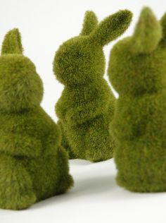 "Totally random, but I thought these might be cute in glass domes on the dessert table??  Moss Bunnies 6-3/4"" Topiaries $5.99 each / 6 for $5 each"