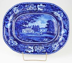 "19th c. Deep Blue transfer dec Staffordshire porcelain platter by R. Halls of St. Woolston's Kildare Ireland 12"" x 15"" -surface glaze scratche - Price Estimate: $150 - $200"