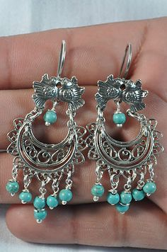 TAXCO MEXICO STERLING SILVER DANGLE VINTAGE STYLE EARRINGS MEXICAN FRIDA JEWELRY