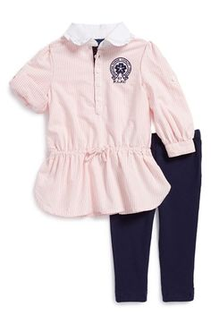 Ralph Lauren Oxford Stripe Dress  amp  Leggings (Baby Girls) available at   Nordstrom 0b388a594a3