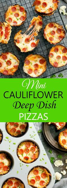 Mini Cauliflower Deep Dish Pizzas. These bite sized low carb and gluten free pizzas have a cauliflower crust and a deep layer of sauce and cheese.