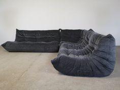 For sale: Togo set in grey blue Alcantara by Michel Ducaroy for Ligne Roset Ligne Roset, Gray Sofa, Vintage Designs, Blue Grey, Sofas, New Homes, Couch, Bedroom, Furniture