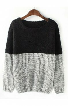 black and gray color block sweater