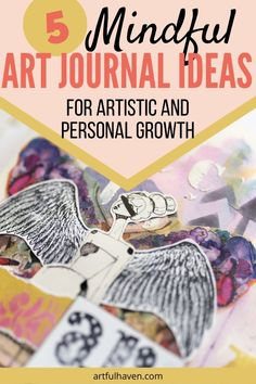 Art journaling can be more than just paints and words if you include mindfulness and awareness of the process. Check out these mindful art journal ideas and make awesome pages with purpose. Art Therapy Projects, Art Therapy Activities, Art Journal Prompts, Journal Ideas, Art Journaling, Book Journal, Mix Media, Moleskine, Mindfulness Art