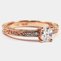 14K Rose Gold Delicate Antique Scroll Ring